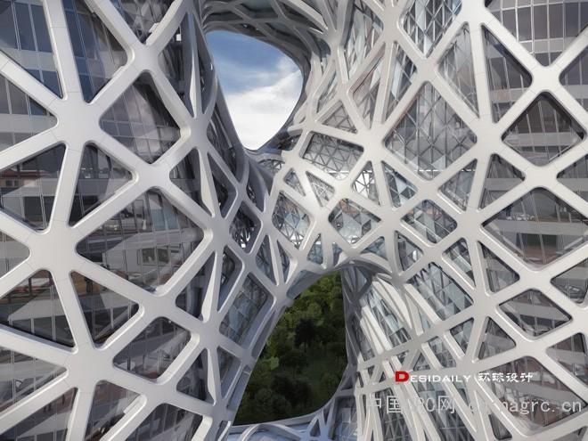 内部则运用了网状结构与几何图形表现建筑的力量感,从工业过度到高科